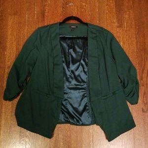 Green Ruched Sleeve Blazer Torrid Size 2 (18/20)